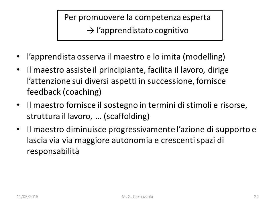 Per promuovere la competenza esperta → l'apprendistato cognitivo