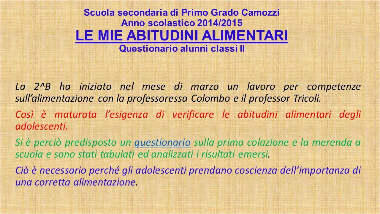 Scuola secondaria di Primo Grado Camozzi Anno scolastico 2014/2015 LE MIE ABITUDINI ALIMENTARI Questionario alunni classi II
