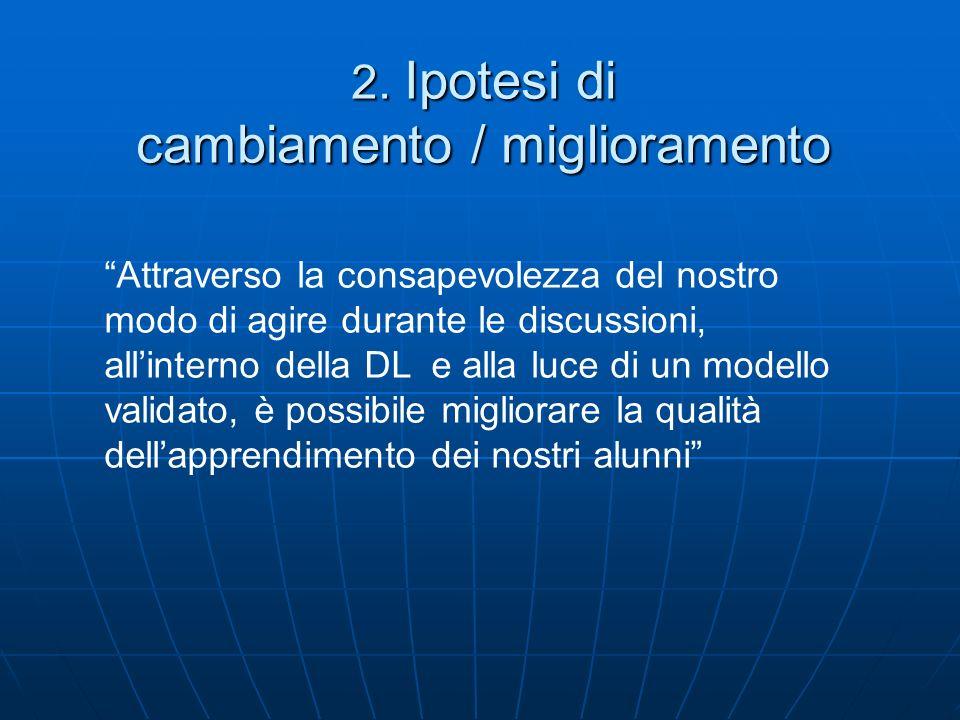 2. Ipotesi di cambiamento / miglioramento