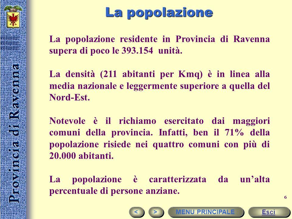 La popolazione La popolazione residente in Provincia di Ravenna supera di poco le 393.154 unità.