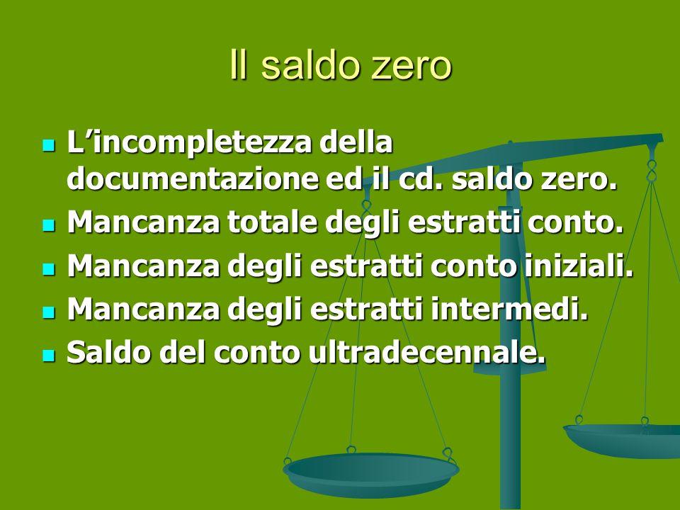 Il saldo zero L'incompletezza della documentazione ed il cd. saldo zero. Mancanza totale degli estratti conto.