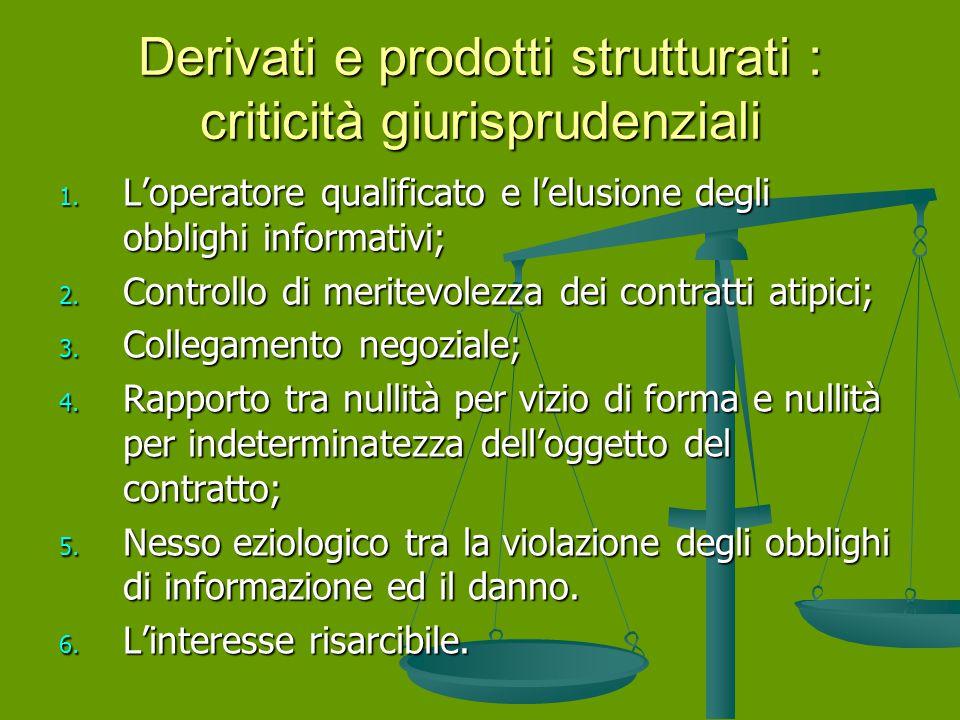 Derivati e prodotti strutturati : criticità giurisprudenziali