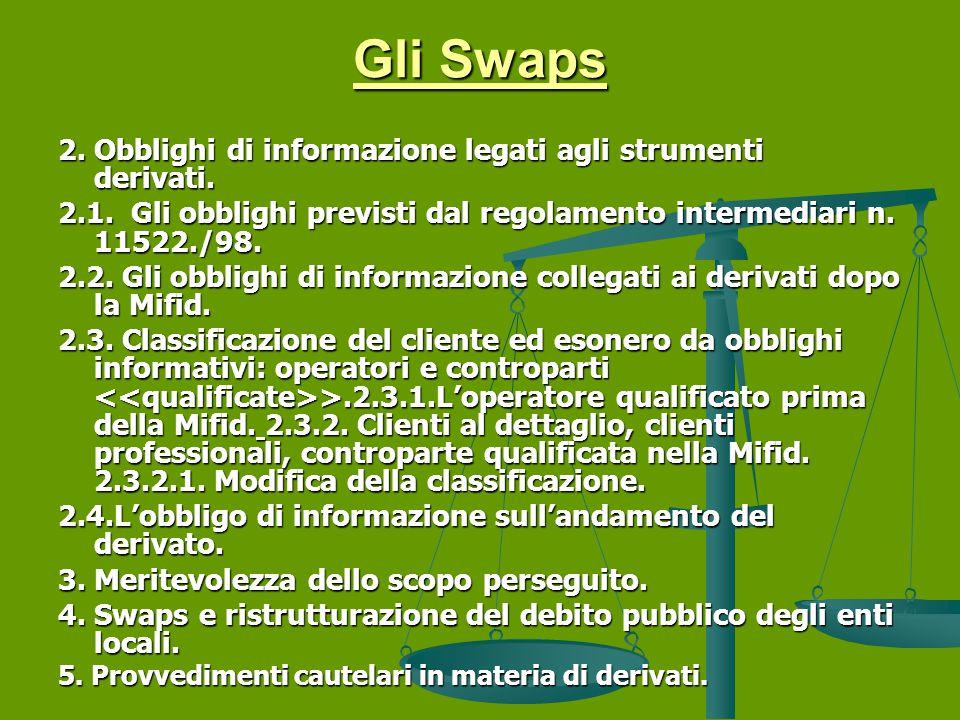 Gli Swaps 2. Obblighi di informazione legati agli strumenti derivati.
