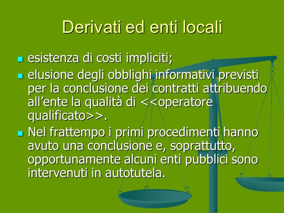 Derivati ed enti locali