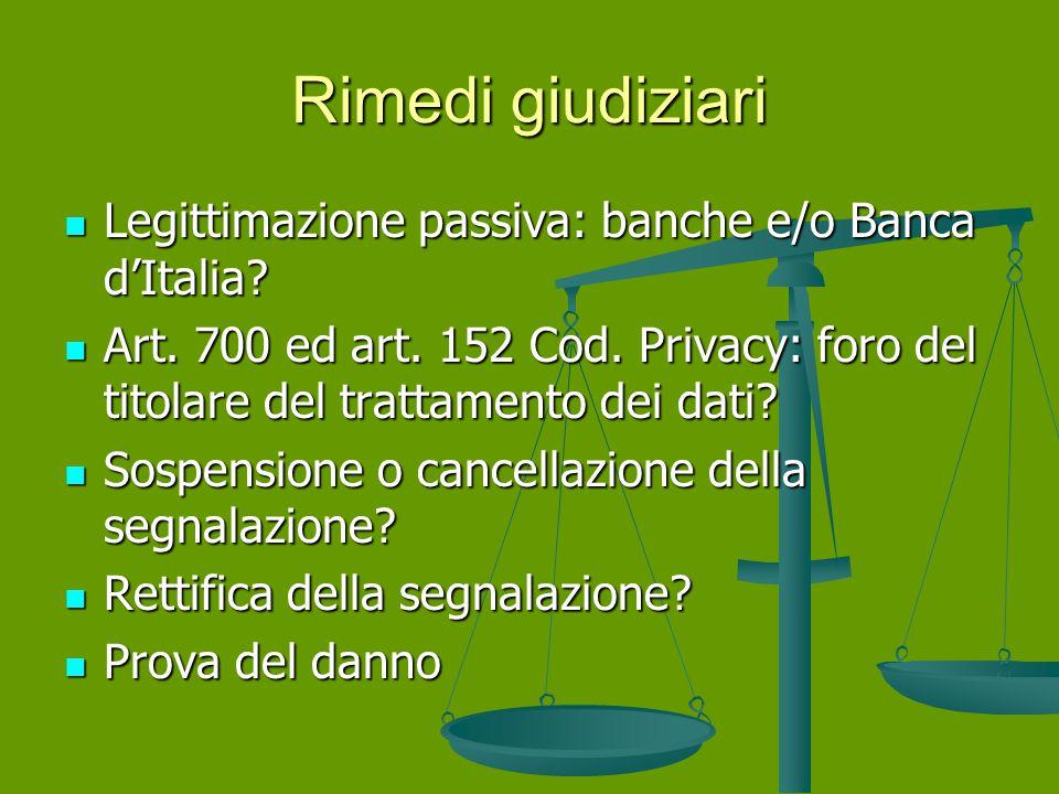 Rimedi giudiziari Legittimazione passiva: banche e/o Banca d'Italia