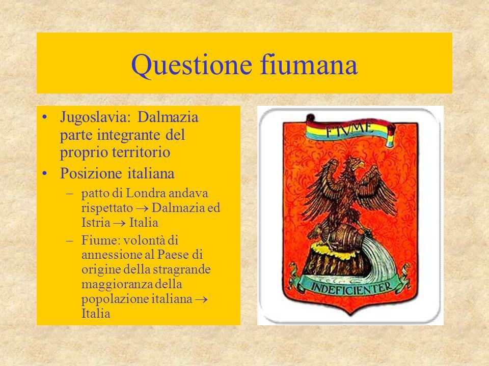 Questione fiumana Jugoslavia: Dalmazia parte integrante del proprio territorio. Posizione italiana.