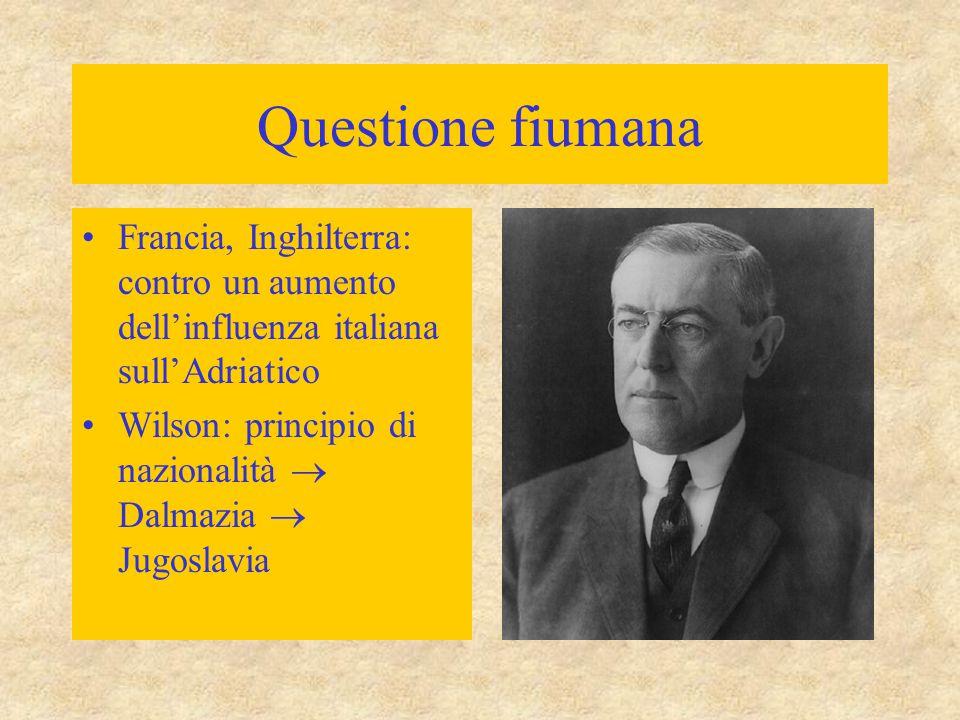 Questione fiumana Francia, Inghilterra: contro un aumento dell'influenza italiana sull'Adriatico.