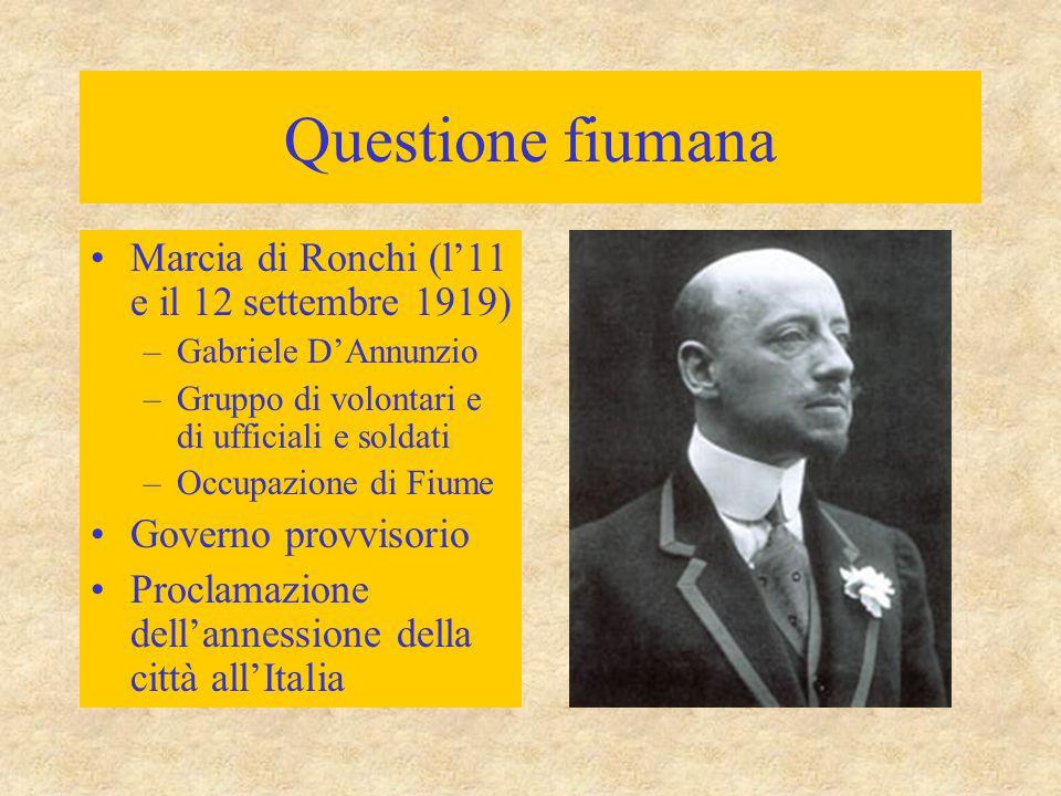 Questione fiumana Marcia di Ronchi (l'11 e il 12 settembre 1919)