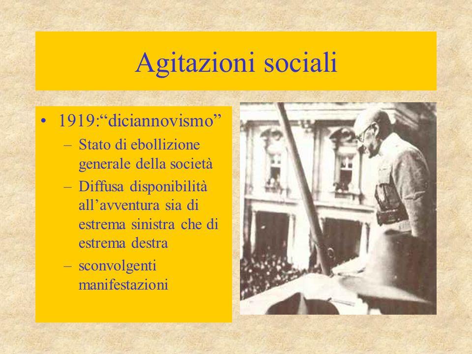 Agitazioni sociali 1919: diciannovismo