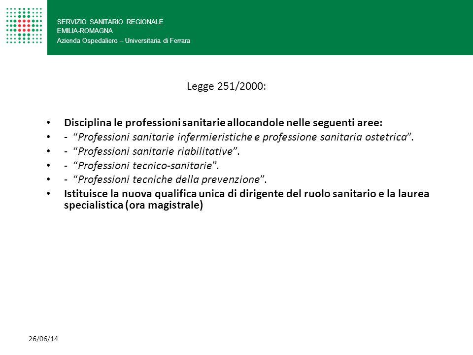 Disciplina le professioni sanitarie allocandole nelle seguenti aree: