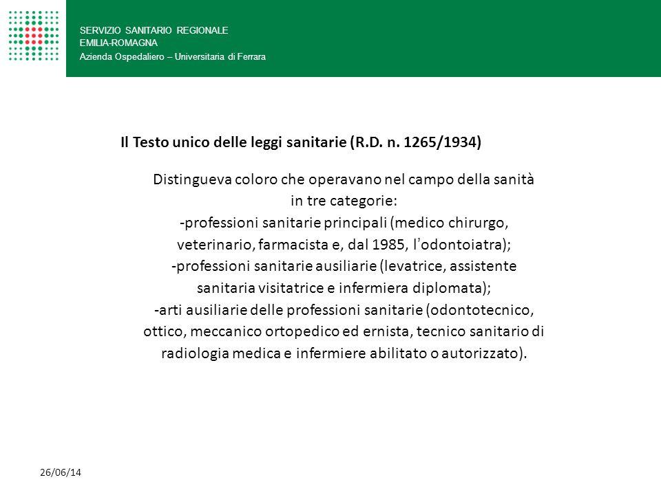 Il Testo unico delle leggi sanitarie (R.D. n. 1265/1934)
