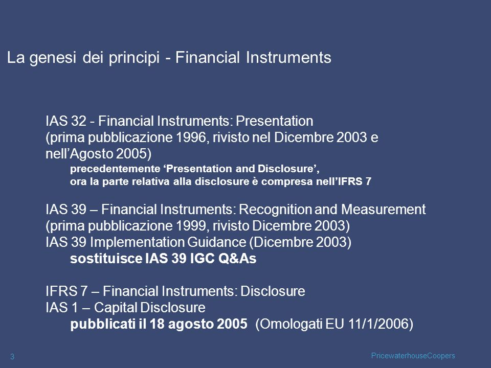 La genesi dei principi - Financial Instruments