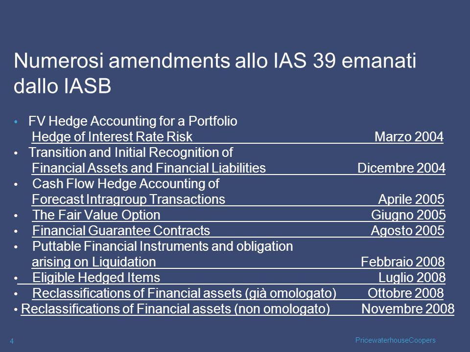 Numerosi amendments allo IAS 39 emanati dallo IASB