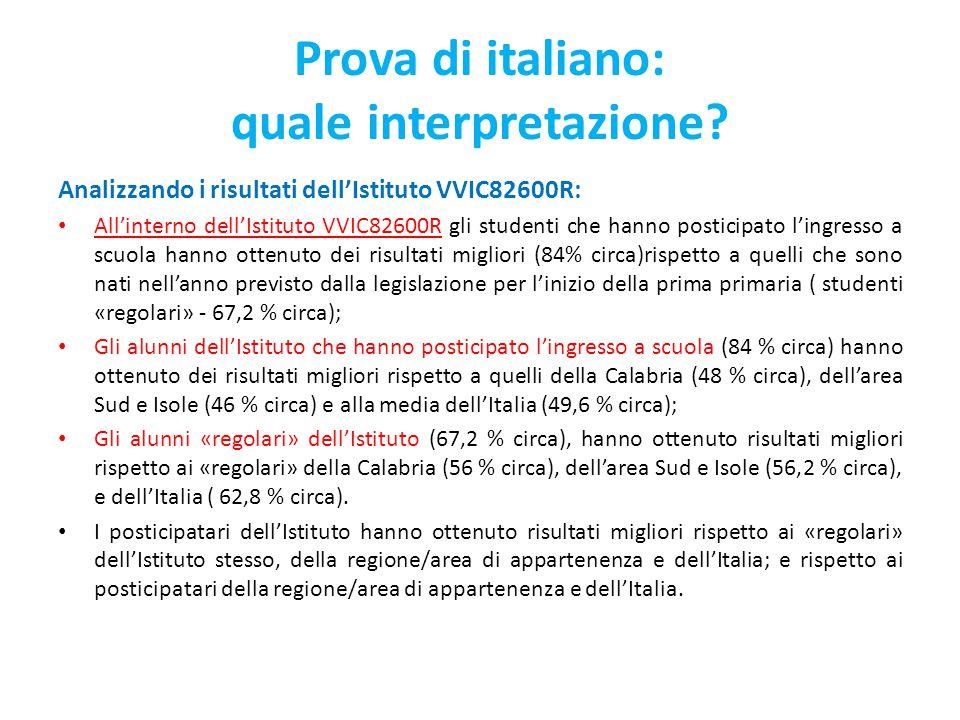 Prova di italiano: quale interpretazione