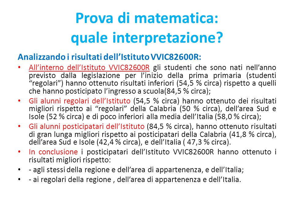 Prova di matematica: quale interpretazione