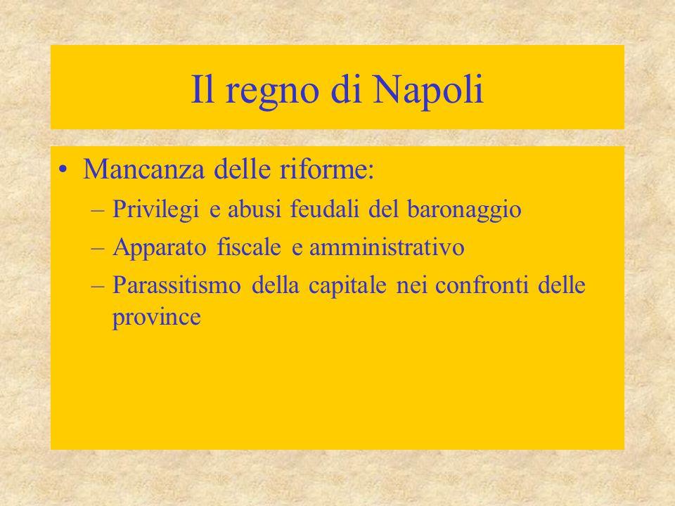 Il regno di Napoli Mancanza delle riforme: