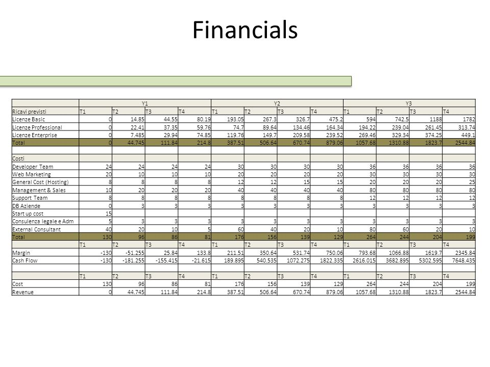 Financials Y1 Y2 Y3 Ricavi previsti T1 T2 T3 T4 Licenze Basic 14.85