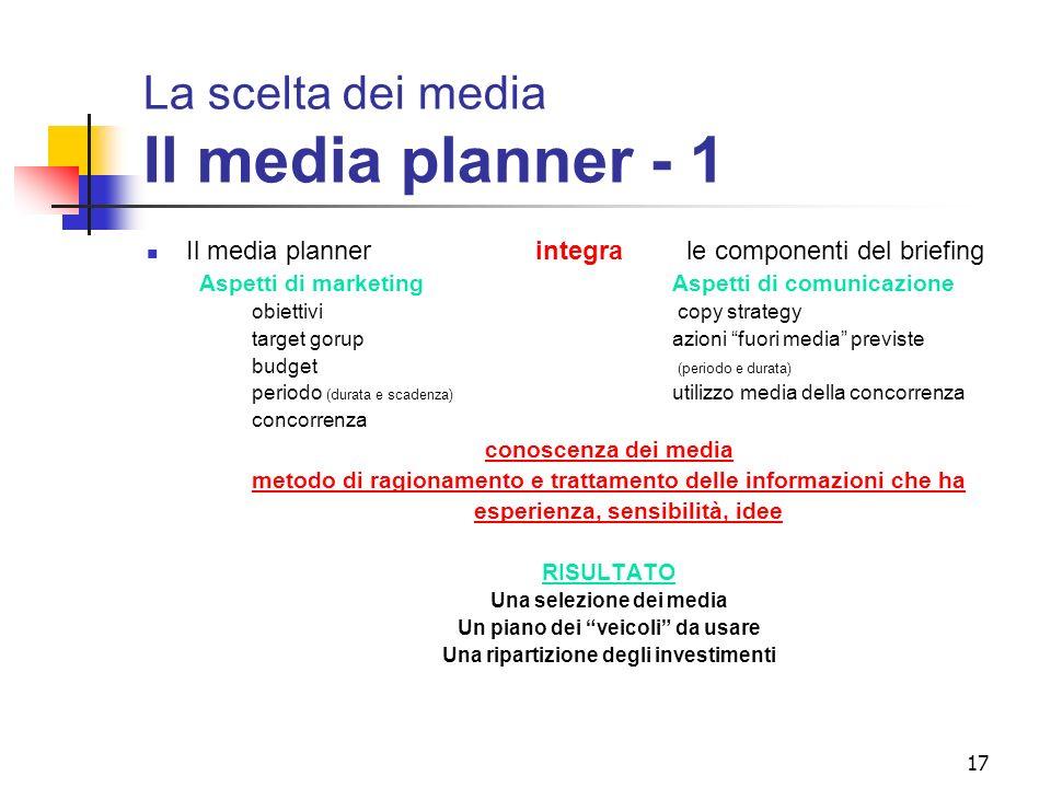 La scelta dei media Il media planner - 1