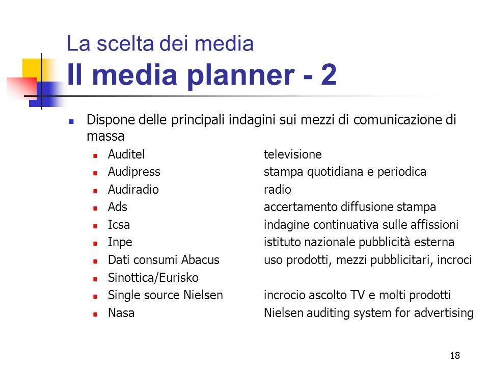 La scelta dei media Il media planner - 2