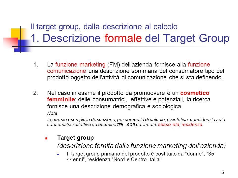 Il target group, dalla descrizione al calcolo 1