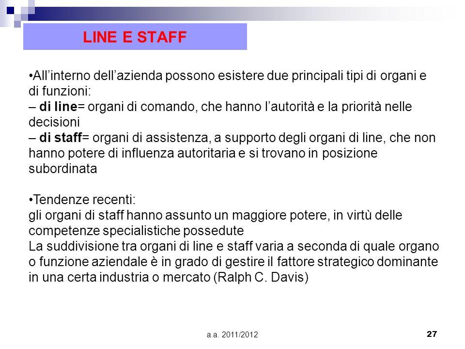 LINE E STAFF •All'interno dell'azienda possono esistere due principali tipi di organi e di funzioni: