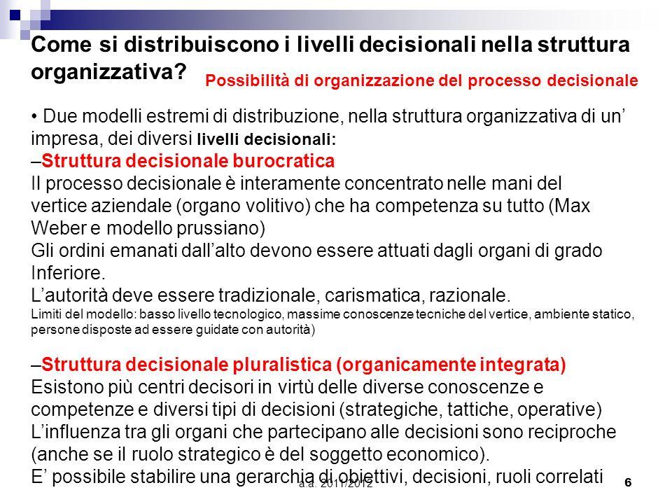 Come si distribuiscono i livelli decisionali nella struttura organizzativa