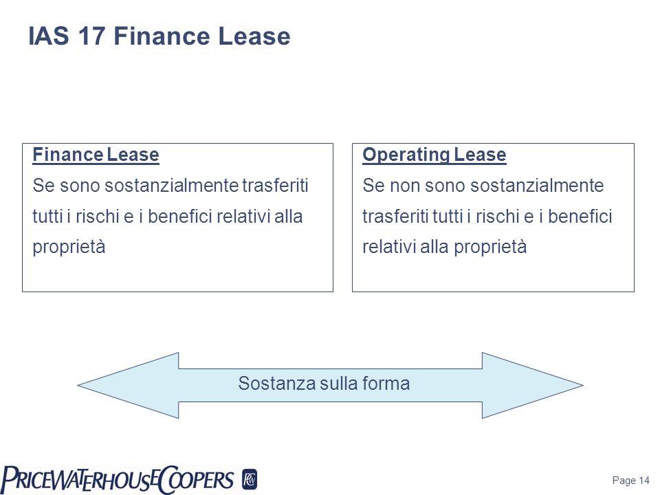 IAS 17 Finance Lease Finance Lease Se sono sostanzialmente trasferiti