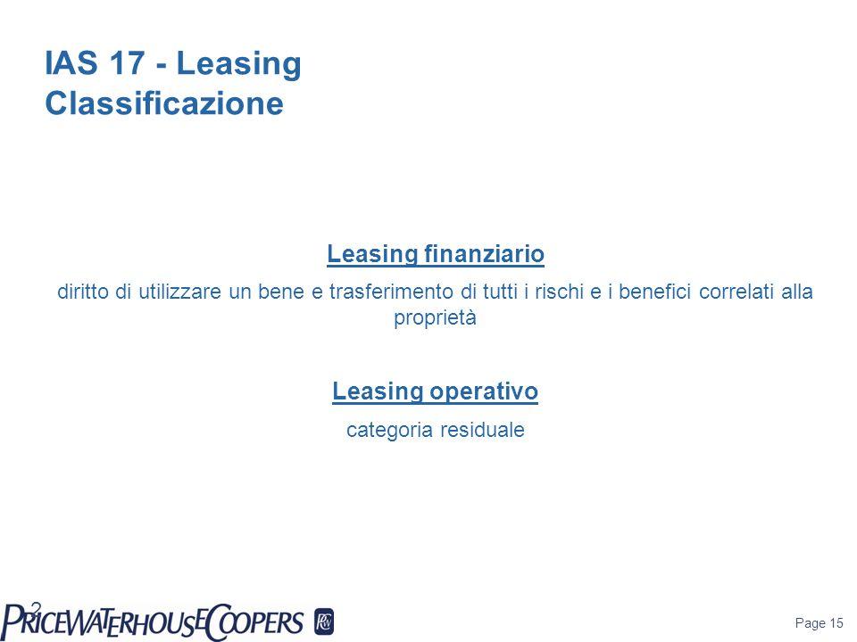 IAS 17 - Leasing Classificazione