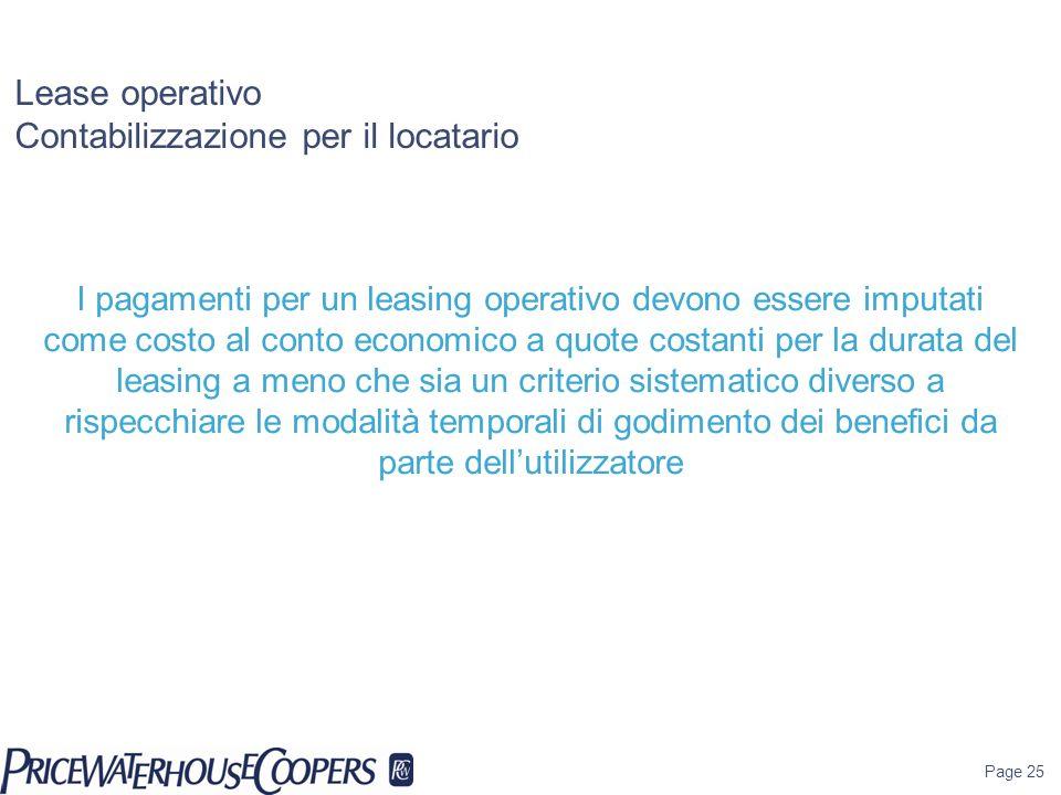 Lease operativo Contabilizzazione per il locatario