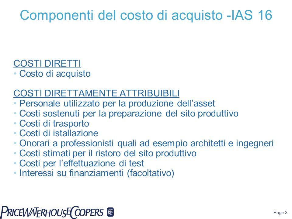 Componenti del costo di acquisto -IAS 16