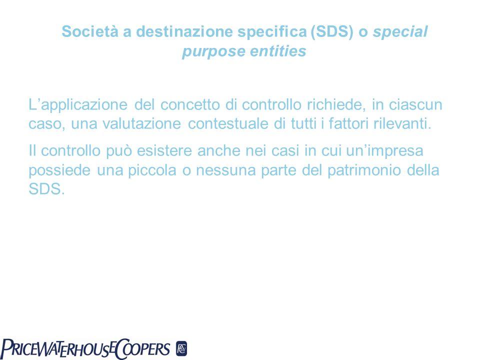 Società a destinazione specifica (SDS) o special purpose entities