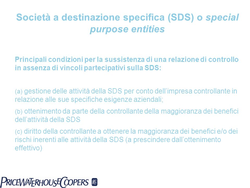 Società a destinazione specifica (SDS) o special purpose entities