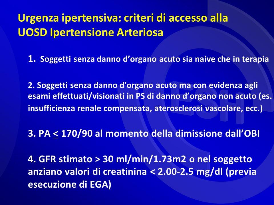 Urgenza ipertensiva: criteri di accesso alla UOSD Ipertensione Arteriosa
