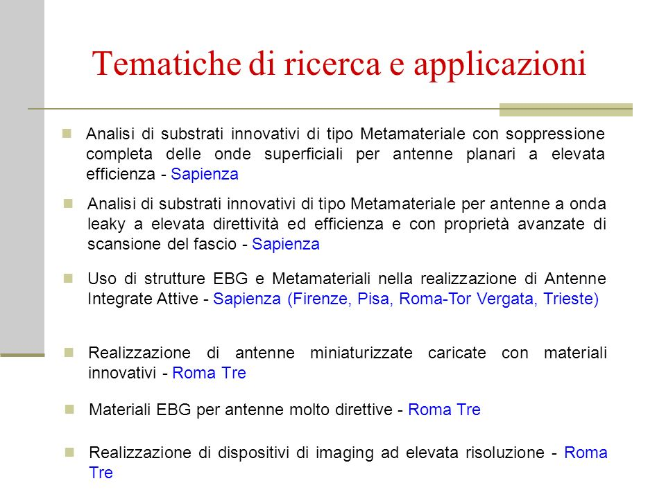 Tematiche di ricerca e applicazioni