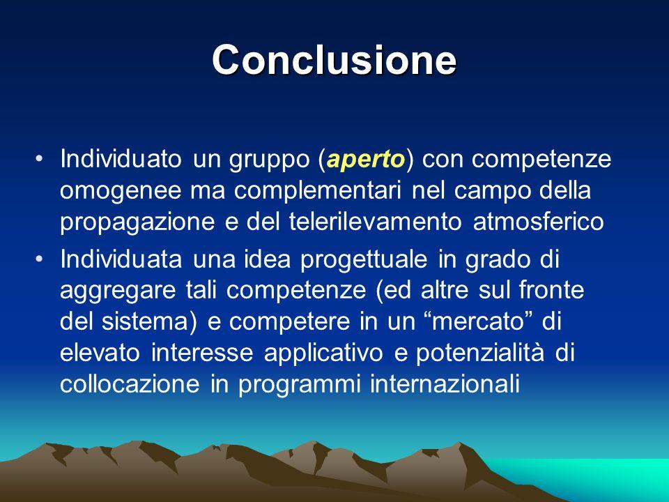 Conclusione Individuato un gruppo (aperto) con competenze omogenee ma complementari nel campo della propagazione e del telerilevamento atmosferico.