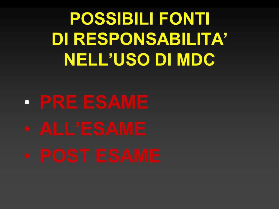 POSSIBILI FONTI DI RESPONSABILITA' NELL'USO DI MDC
