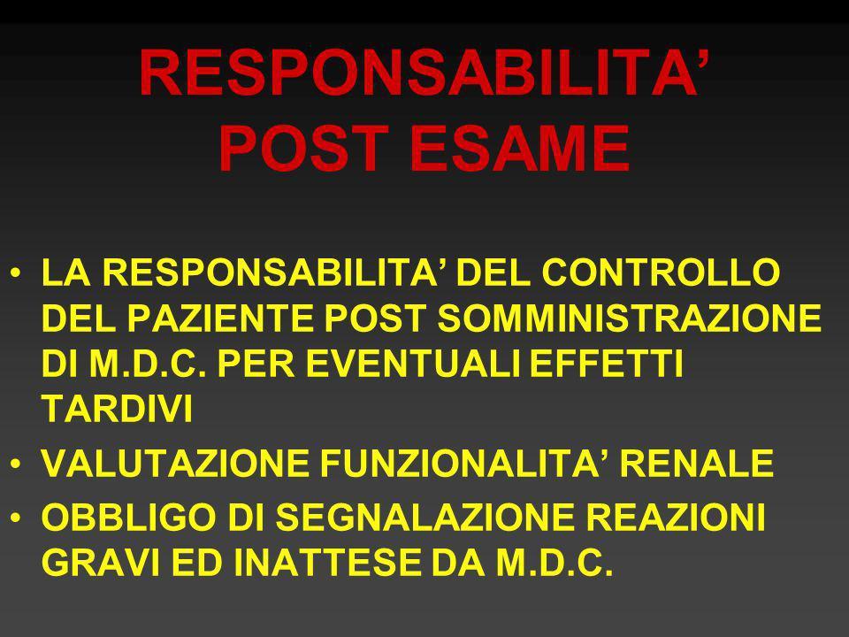 RESPONSABILITA' POST ESAME