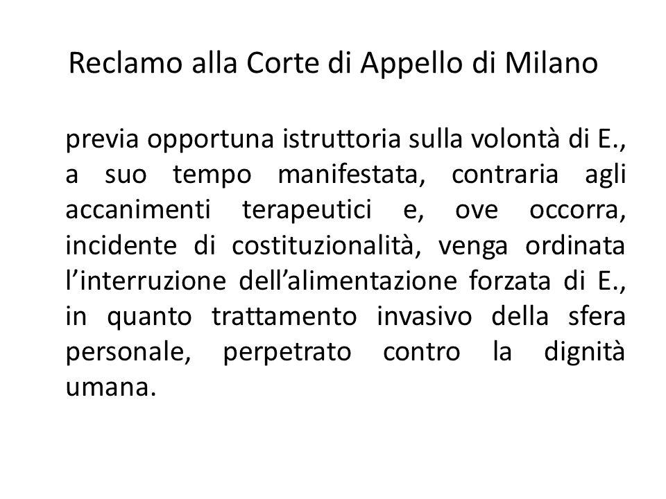 Reclamo alla Corte di Appello di Milano