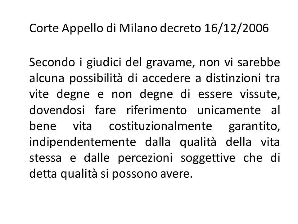 Corte Appello di Milano decreto 16/12/2006