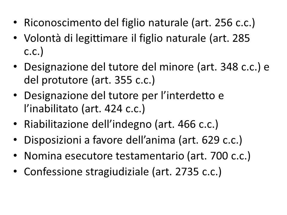 Riconoscimento del figlio naturale (art. 256 c.c.)
