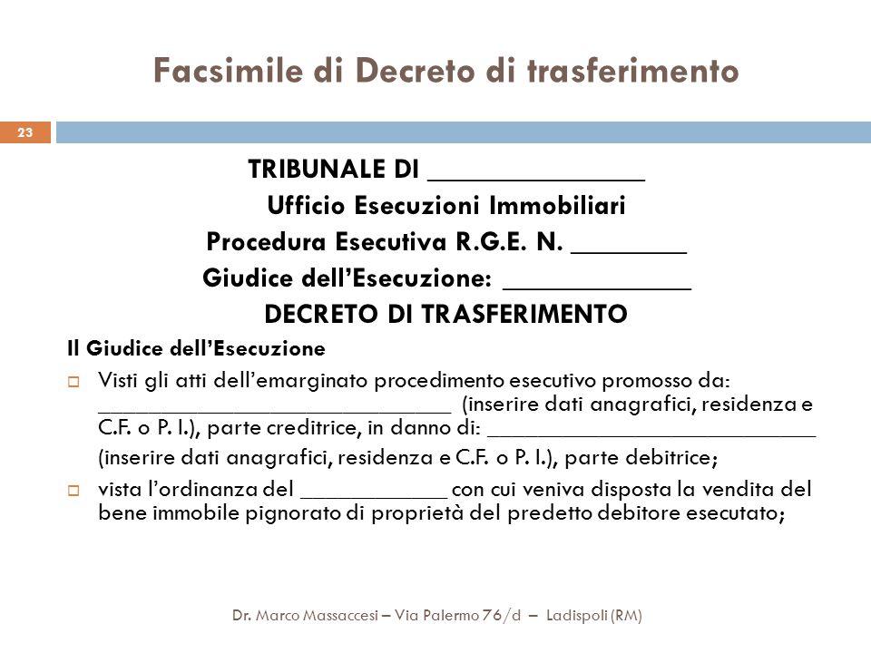 Facsimile di Decreto di trasferimento