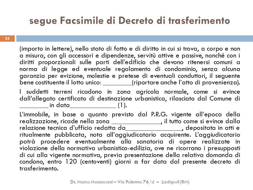 segue Facsimile di Decreto di trasferimento