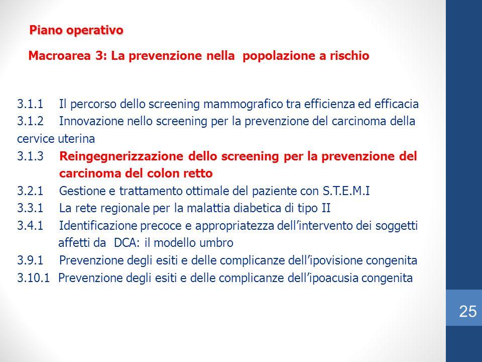 Piano operativo Macroarea 3: La prevenzione nella popolazione a rischio.