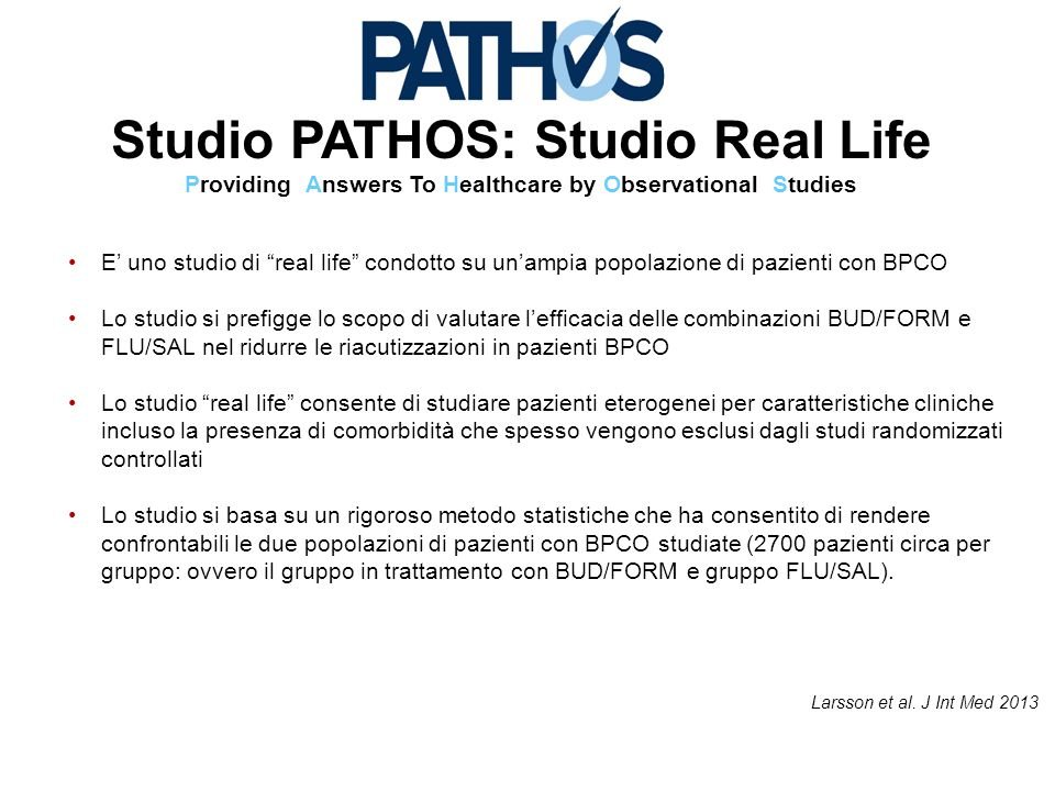 Studio PATHOS: Studio Real Life Providing Answers To Healthcare by Observational Studies