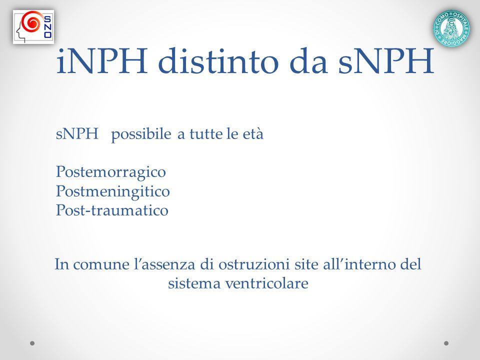 iNPH distinto da sNPH sNPH possibile a tutte le età Postemorragico