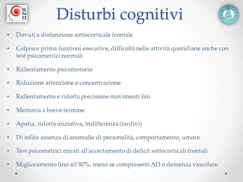 Disturbi cognitivi Dovuti a disfunzione sottocorticale frontale