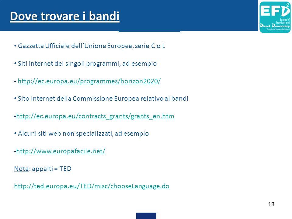 Dove trovare i bandi Siti internet dei singoli programmi, ad esempio