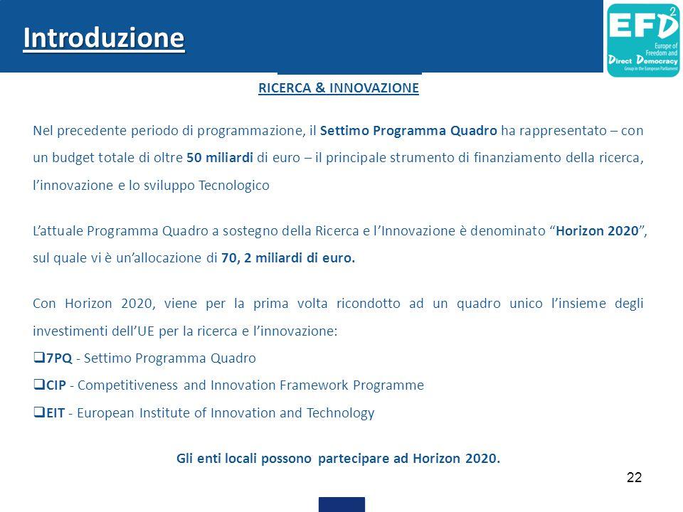 Gli enti locali possono partecipare ad Horizon 2020.