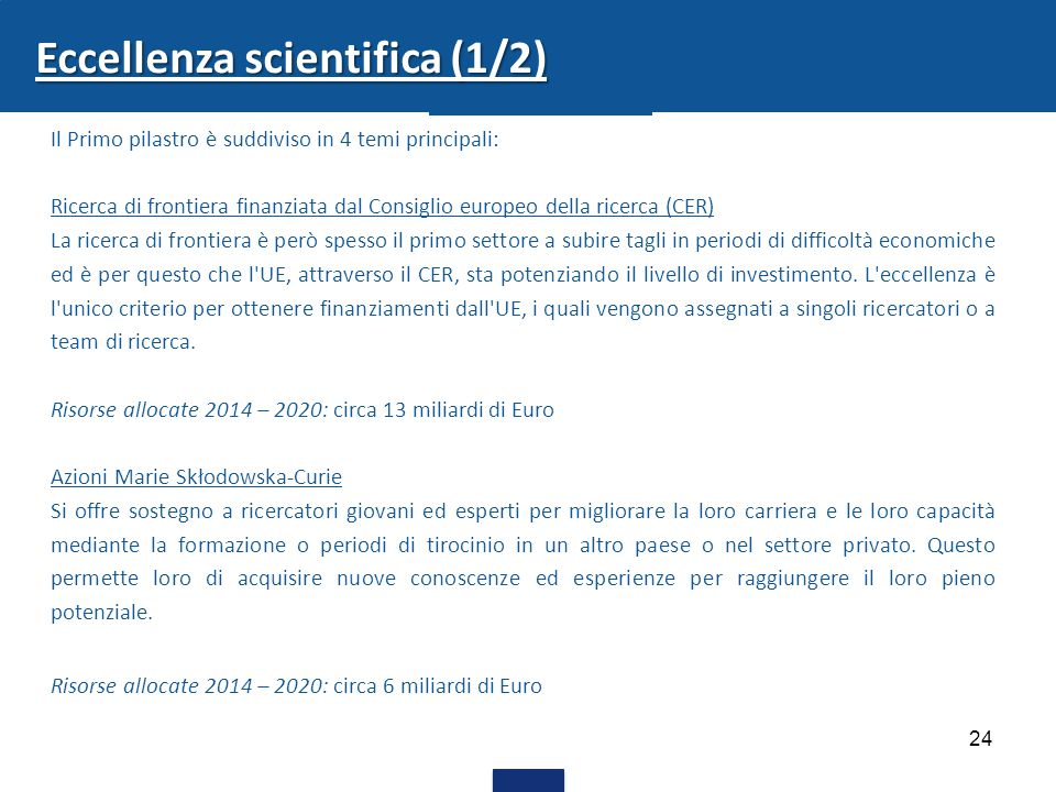 Eccellenza scientifica (1/2)