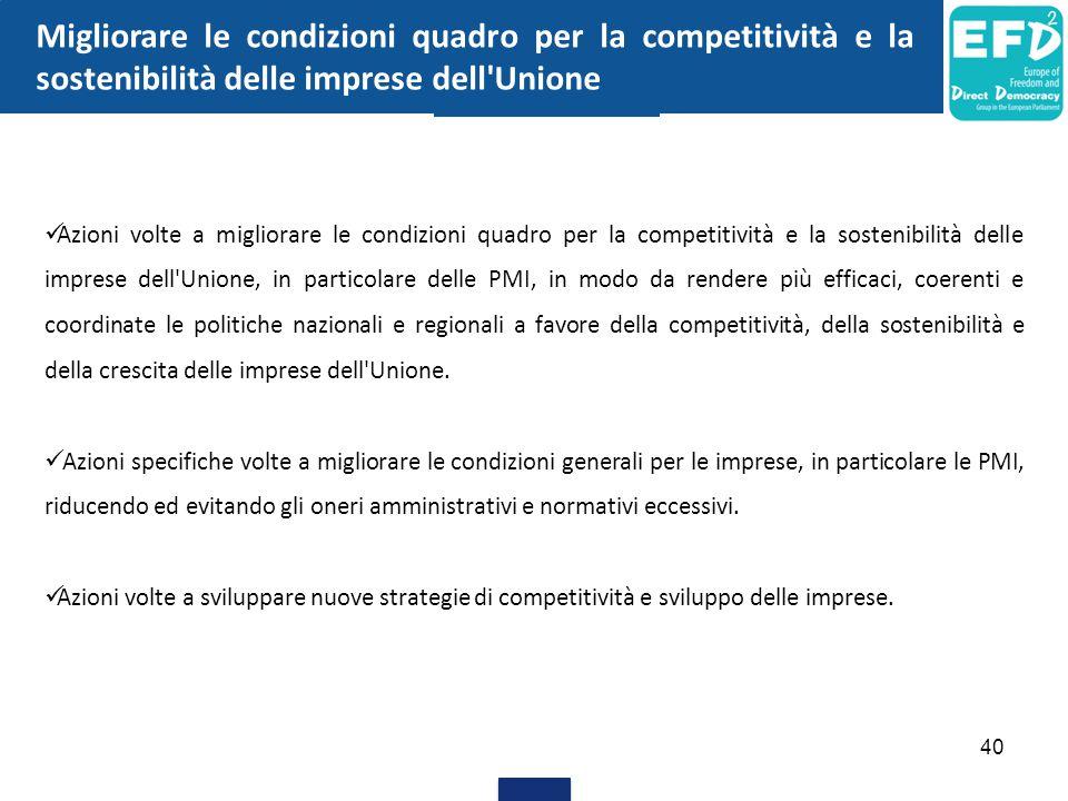 Migliorare le condizioni quadro per la competitività e la sostenibilità delle imprese dell Unione